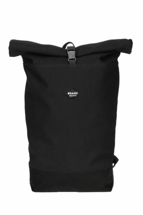 Black backpack with leather bottom Noir