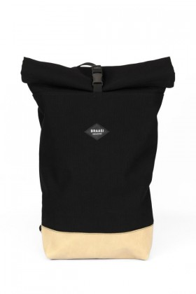 Canvas Black backpack with leather bottom