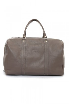 Grey travel leather bag