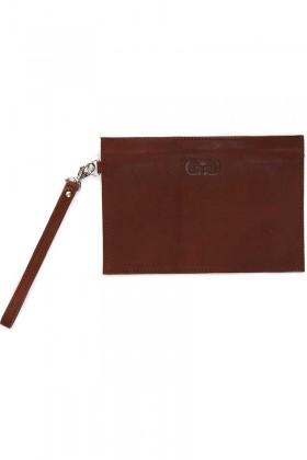 Brown zip clutch