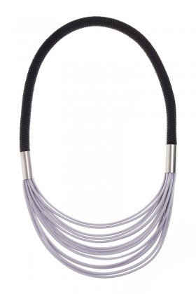 Grey-black necklace with stainless steel