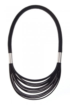 Black necklace with stainless steel