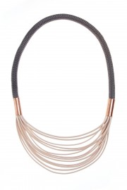Cream grey necklace with copper