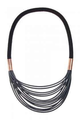 Anthracite black necklace with copper