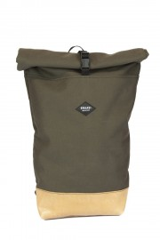 Khaki canvas backpack with leather bottom