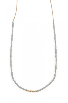 Grey necklace with gold beads