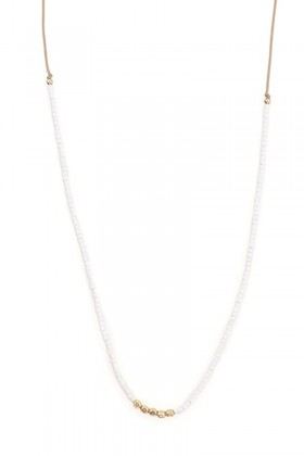 White necklace with gold beads
