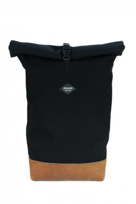 Black backpack with brown leather bottom Nico