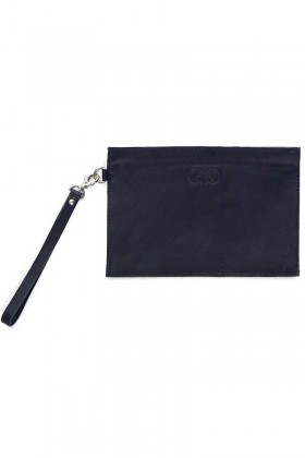 Dark blue zip clutch