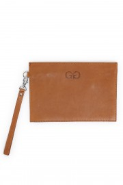 Cognac zip clutch