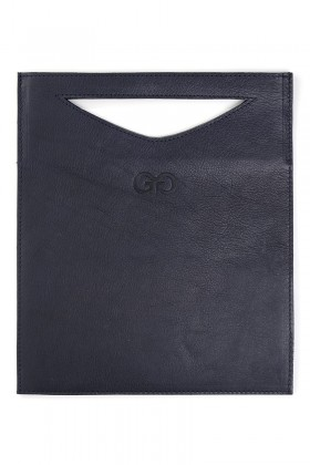 Dark blue leather clutch