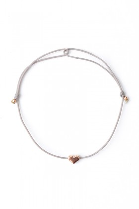 Grey bracelet with rose gold heart