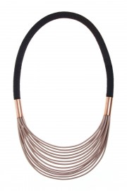 Beige black necklace with copper