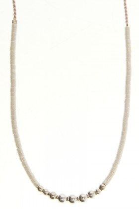 White necklace with silver beads