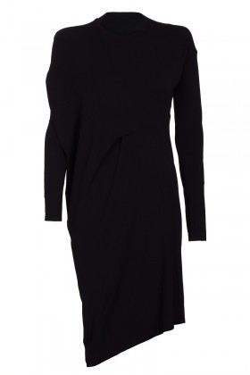 Black asymmetrical dress with a long sleeve