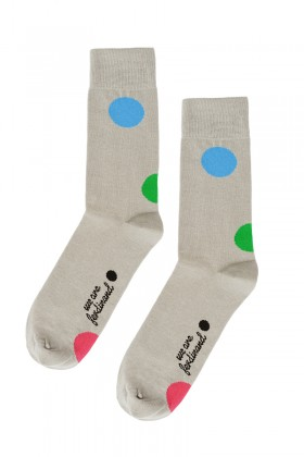 "Grey socks ""six happy dots"""