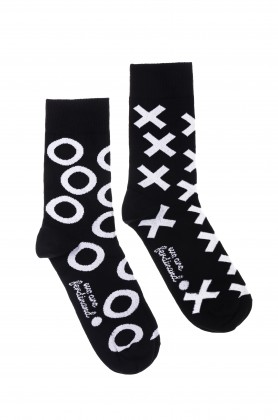"Black&white socks ""XO"""