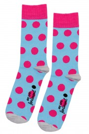 Blue and pink polka dot socks
