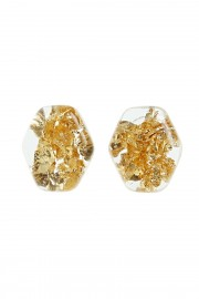 Earrings with golden flakes