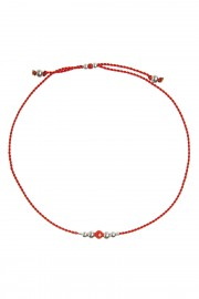 Red bracelet with coral and silver beads
