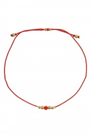 Red bracelet with coral and gold beads