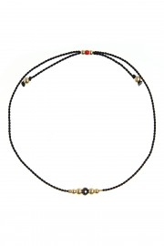 Black bracelet with spinel and gold beads