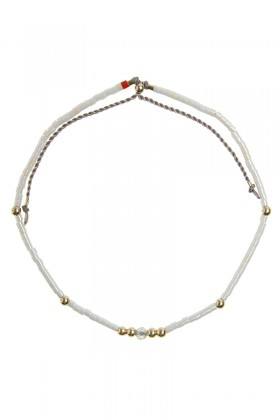 White bracelet with labradorit and gold beads