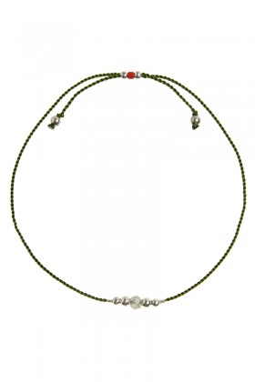 Green bracelet with labradorit and silver beads