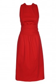 Cotton dress with partially exposed back
