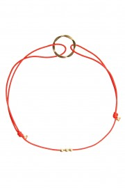 Red bracelet with golden karma