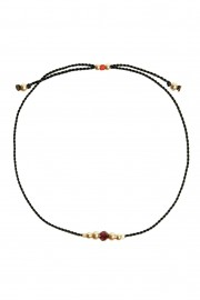 Black bracelet with African garnet and golden beads