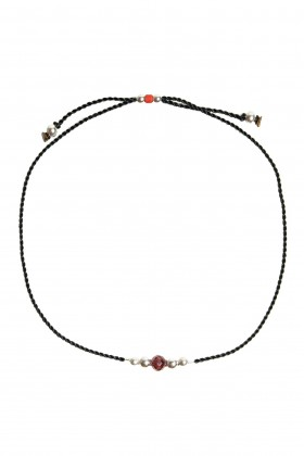 Black bracelet with African garnet and silver beads