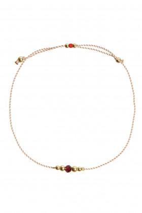 Powder pink bracelet with African Garnet and golden beads