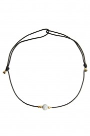Black bracelet with Feldspar and golden beads