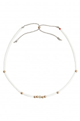 White bracelet with labradorit and rose gold beads