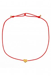 Red bracelet with golden heart