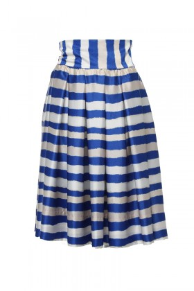 White-blue striped skirt
